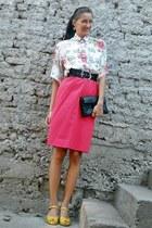 Rick Owens shirt - black Zara bag - red vinateg skirt - yellow sandals