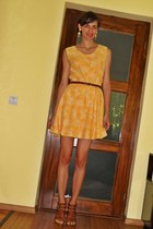 yellow custom made dress - brown Stefanel sandals - chartreuse H&M earrings