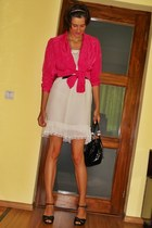 white custom made dress - hot pink Mango shirt - black asos bag