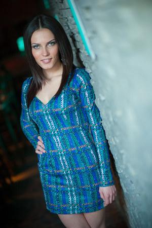 teal multi color dress