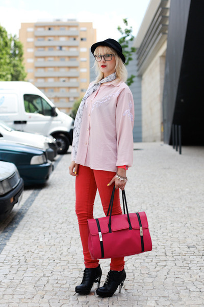red jeans - black H&M hat - hot pink Westragspt purse - black Westragspt clogs -