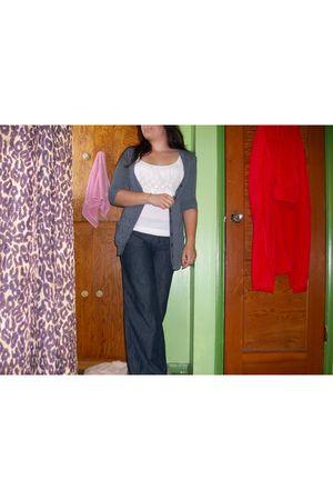 charolette russe blouse - The Closet cardigan - Anchor Blue jeans - Charlotte Ru