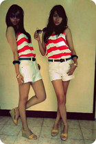 love it Levis shorts - vintage belt - red and white top - from mom wedges - rand
