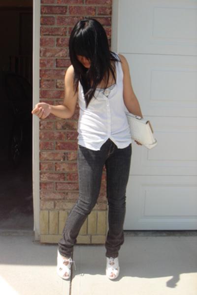 vest - jeans - Aldo shoes - moms old purse