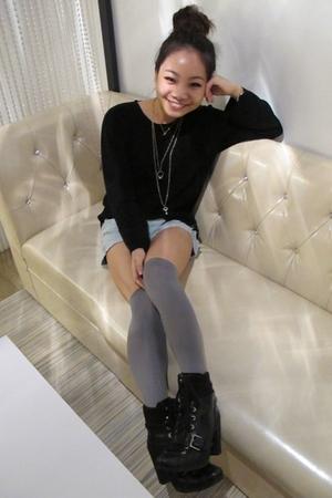 black sweater - blue shorts - gray stockings - black boots