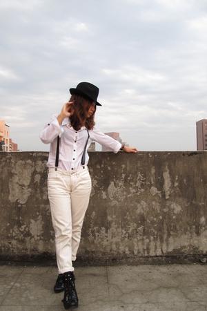 white Uniqlo pants - black Nine West boots