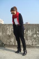 white Zara sweater - red H&M scarf