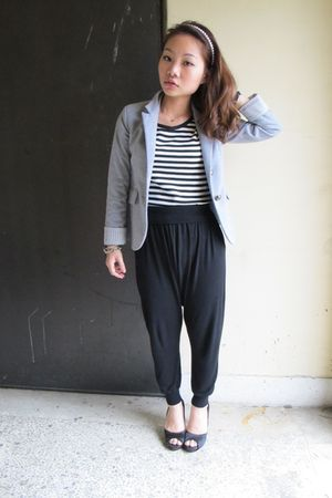 black Zara pants - gray Zara blouse - black shoes