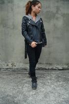 black jacket - black boots