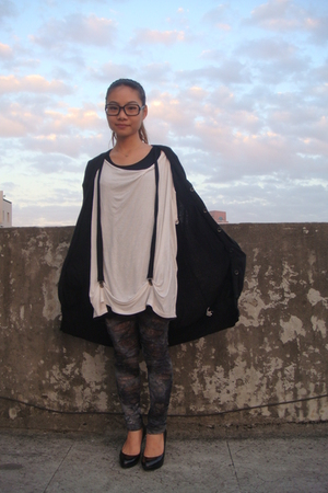black Armani Exchange sweater - white t-shirt - black vest - gray tights - black