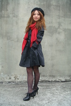 red H&M scarf - black shoes - black coat