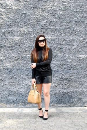 black turtleneck Forever 21 sweater - nude yeswalker bag