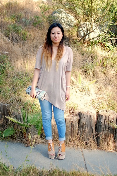 beige shirt - nude H&M shoes - light blue BDG jeans