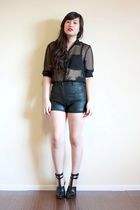 black sheer H&M blouse - black abbey sandals Alexander Wang shoes