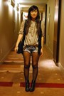 Beige-zara-shirt-black-forever-21-vest-blue-hollister-shorts-black-h-m-boo