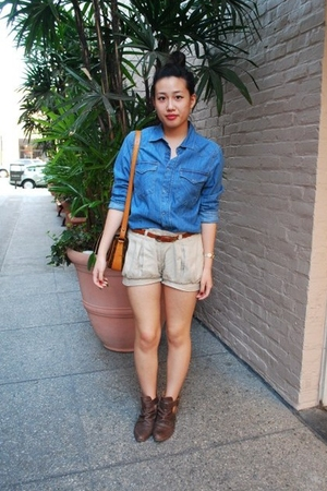 H&amp;M shirt - V Generation shorts - Forever 21 belt - Zara boots - Louis Vuitton p