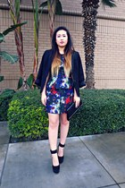 black Dolce Vit shoes - blue H&M dress - black Mango blazer