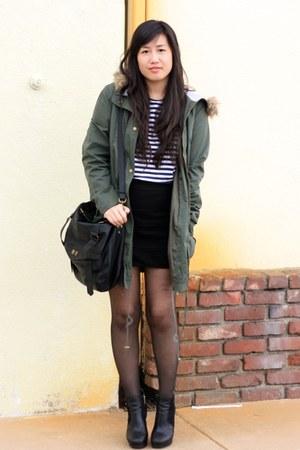 olive green parka asos jacket - black zoe sam edelman boots