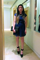 black jevan Dolce Vita shoes - blue lace H&M dress