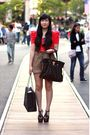 Red-forever-21-dress-brown-h-m-shorts-black-michael-kors-purse-black-jessi