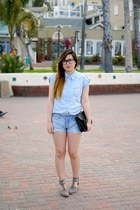 light blue Forever 21 shirt - black Cambridge purse - light blue H&M shorts