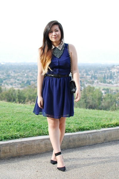 black Zara shoes - navy asos dress - black Chanel purse