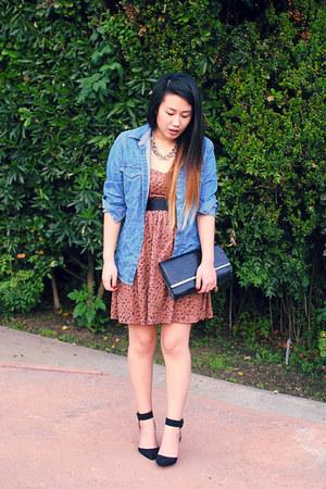 black Zara shoes - bronze dress - sky blue mens denim H&M shirt