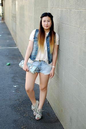 light blue denim H&amp;M shorts - light blue bow tie Opening Ceremony boots