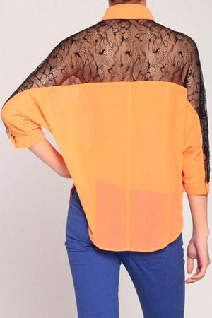 orange lace sheer shirt