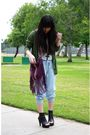 Gray-h-m-shirt-green-gap-cardigan-blue-forever-21-pants-purple-forever-21-