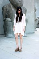 pink H&M dress - brown Jeffrey Campbell shoes - brown H&M sunglasses