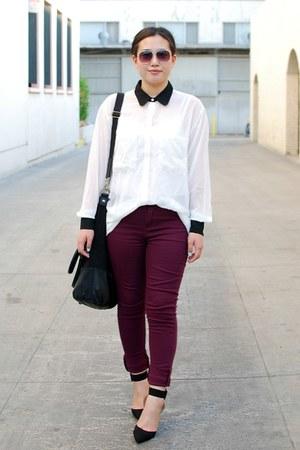 black Zara shoes - maroon cotton on jeans - white American Apparel shirt
