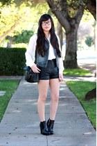 ivory American Apparel blouse - black Forever 21 shorts - blue Forever 21 vest -