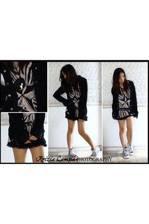 black Zara skirt - brown Zara shirt - black Gap jacket - white Converse shoes