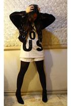 white Zara shirt - black Forever 21 shoes - white Guess shorts