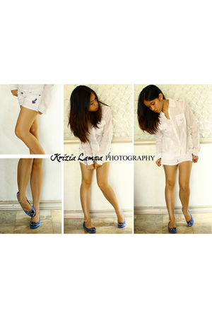 white giordano blouse - white Zara shorts - blue stella luna shoes