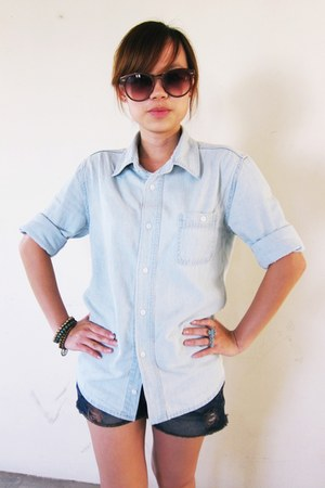 light blue denim shirt - navy asos shorts - dark brown sunglasses