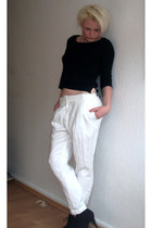 white H&M pants - black H&M shirt - black bullboxer heels