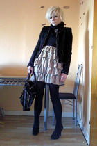 beige H&M dress - black New Yorker jacket - black Secondhand accessories - black