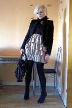 beige H&M dress - black New Yorker jacket - black Secondhand accessories - black