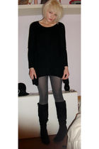 black H&M sweater - gray H&M tights - black boots