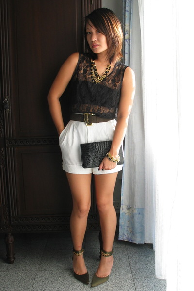 white diy high waisted shorts black diy lace tops green