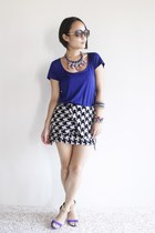 black choiescom skirt - blue Mango t-shirt - blue River Island heels