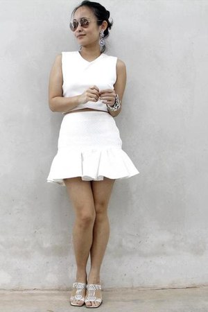 white ezra top - white Love Bonito skirt - white Katiez Accessories bracelet
