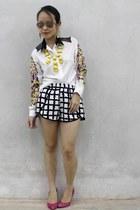 black ezra shorts - white Femme Elegante blouse