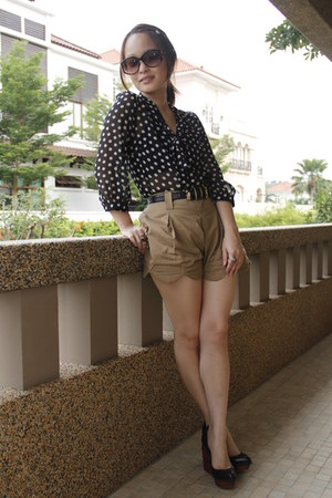 random shorts - Primark blouse - Jeffrey Campbell wedges