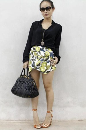 black Miu Miu bag - light yellow Topshop skirt - burnt orange Zara heels