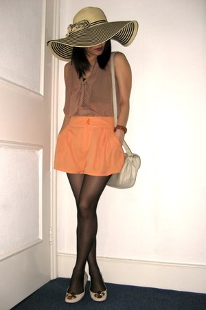 tan Jessica Simpson hat - carrot orange H&M shorts - light brown Atmosphere blou