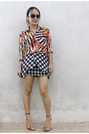 orange Zara shoes - black Choies skirt