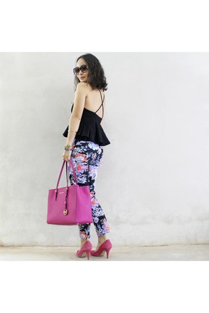 black asos top - hot pink Michael Kors bag